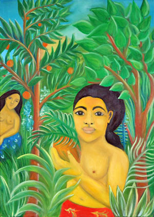 Paul Gauguin's girls in the gardens of Henri Rousseau