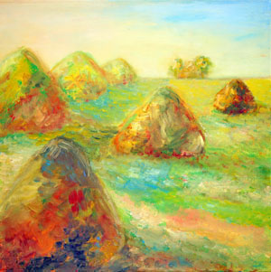 Impressionists rest in haystacks