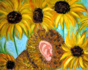 Portrait of Vincent Willem van Gogh in sunflowers