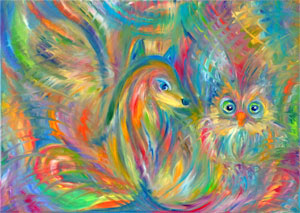 Fox and owl. Bright joyful painting for the interior