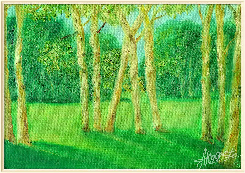 Green landscape. Painting to order.