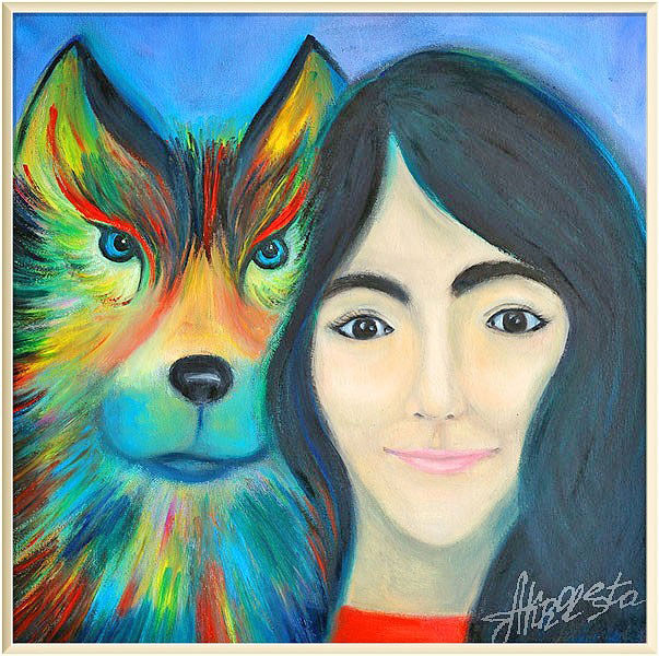 Portrait. The girl and the wolf. Painting to order. Portrait to order