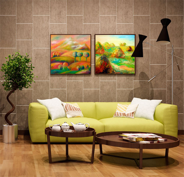 RelaxArt and JazzArt. The painting in the interior living room