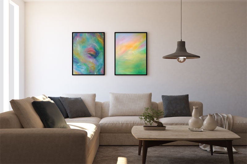 LightArt. The painting in the interior living room
