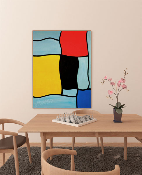 Funny Piet Mondrian. The painting in the interior office