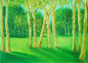 Green landscape. Painting to order. Portrait to order