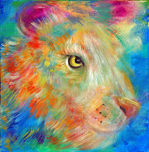Rainbow lion. Painting to order. Portrait to order