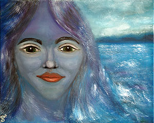 Mermaid. Girl and the sea. Painting to order. Portrait to order