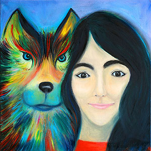 The girl and the wolf. Painting to order. Portrait to order
